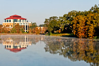 ULM Library, Alumni Center and Bayou in the Morning